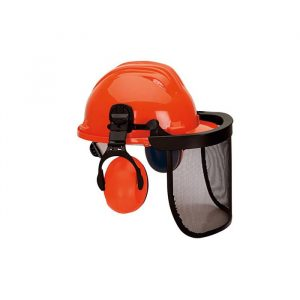 Capacete em polietileno com viseira em rede metálica e auricular em ABS